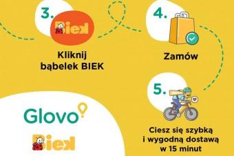 Zakupy z dostawą w 15 minut dzięki ekspresowej usłudze BIEK oferowanej wspólnie przez Biedronkę i Glovo